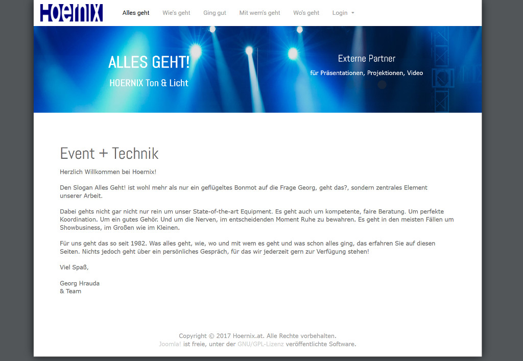 Screenshot der Webseite Hoernix.at